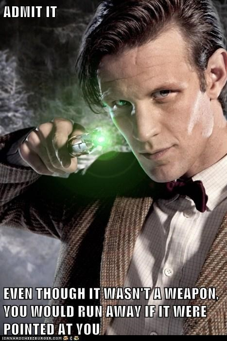 sonic screwdriver,run,the doctor,Matt Smith,doctor who,admit it