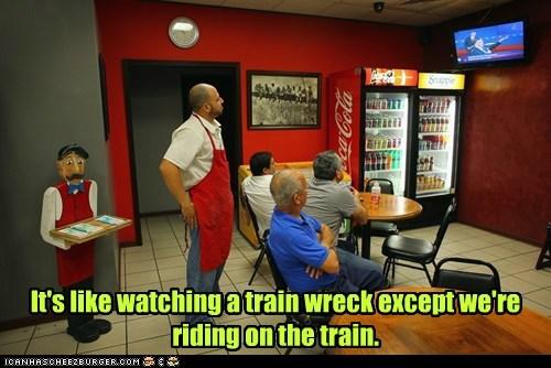 debate train wreck riding election watching - 6690133504
