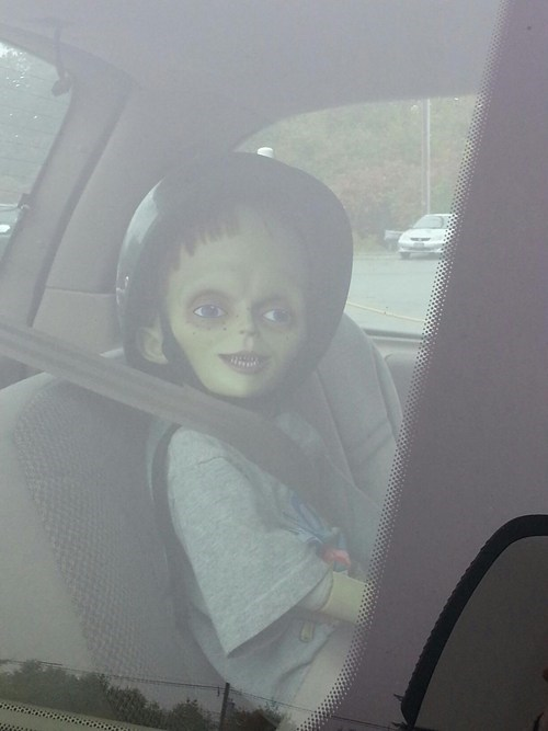kid creepy car doll nightmare fuel - 6690340608
