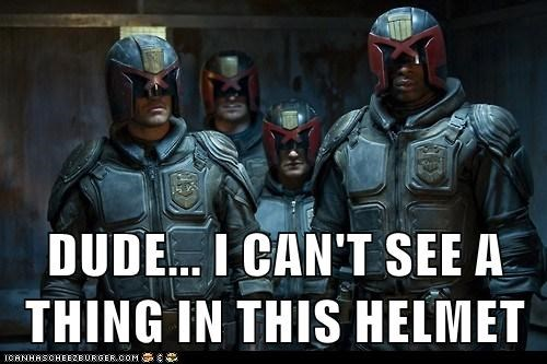 cant-see vision helmet dredd 3d bad design judge dredd