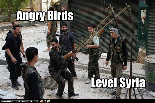 angry birds,news,syria,slingshot