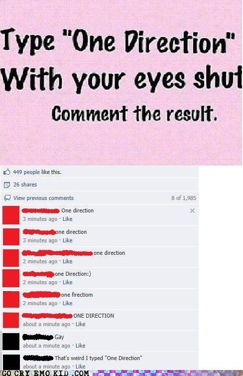 bad music,one direction,comments,facebook,gay