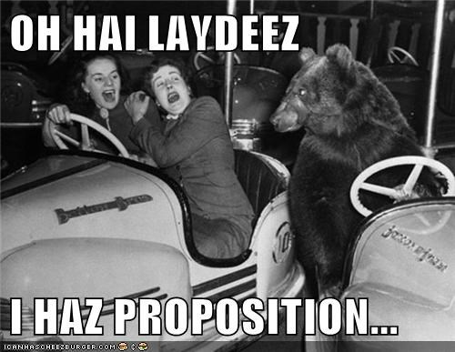 bear,bumper cars,women,scary