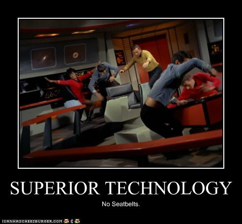 Captain Kirk falling technology uhura Star Trek William Shatner Shatnerday superior seatbelts Nichelle Nichols - 6692065792