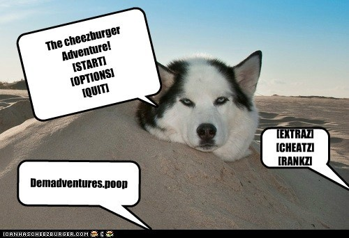 The cheezburger Adventure! [START] [OPTIONS] [QUIT] [EXTRAZ] [CHEATZ] [RANKZ] Demadventures.poop