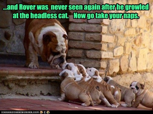 ...and Rover was never seen again after he growled at the headless cat. Now go take your naps.