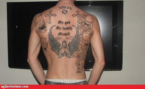 devils,religious,back tattoos