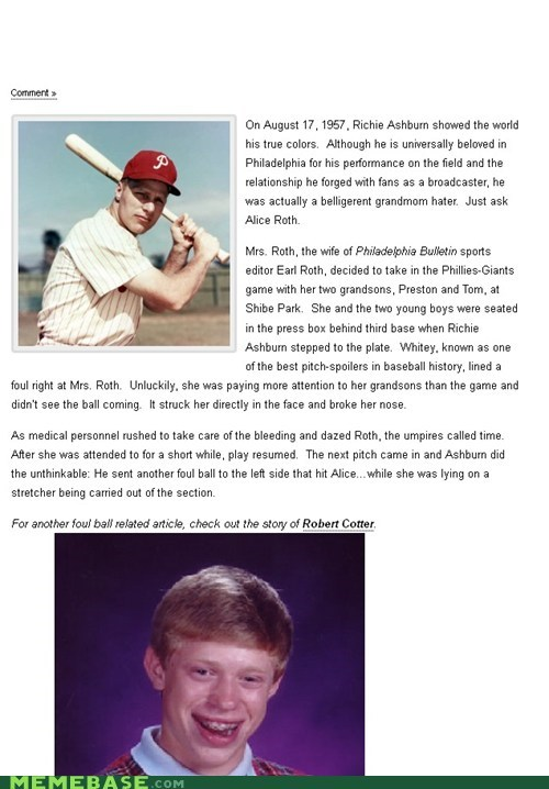 bad luck brian,baseball,foul ball,hamburger