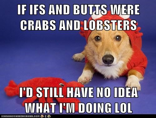 IF IFS AND BUTTS WERE CRABS AND LOBSTERS  I'D STILL HAVE NO IDEA WHAT I'M DOING LOL