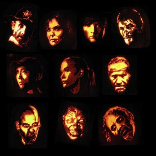 The Walking Dead pumpkins halloween ghoulish geeks jack o lanterns g rated - 6695452672