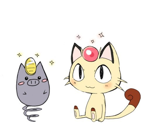 Meowth spoink headpiece cute art - 6695567360