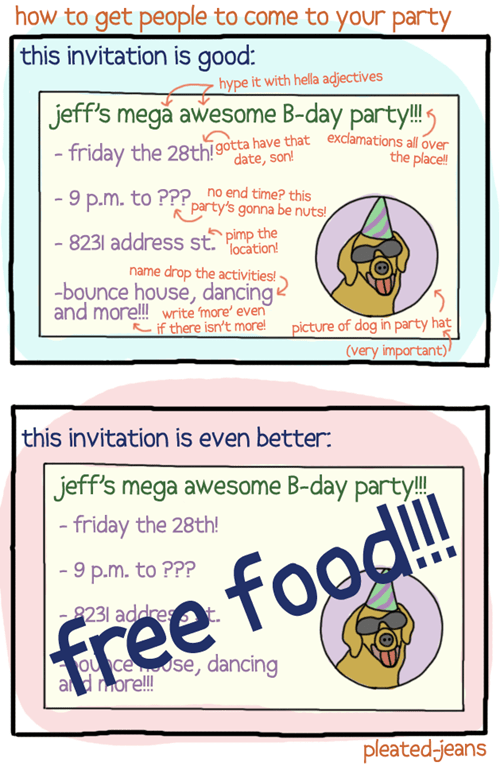 pleated jeans,food,parties,invitations,free food