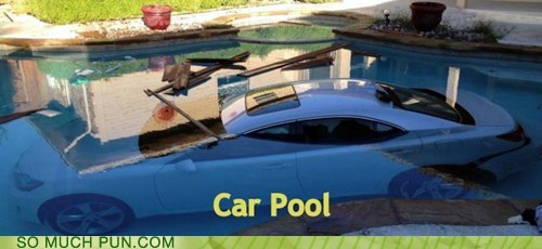 carpool,car,cliché,pool,literalism,double meaning