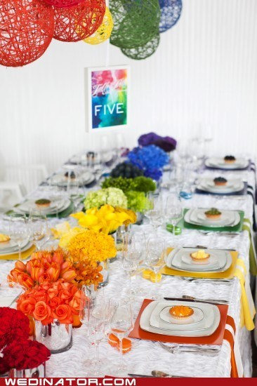 table rainbow decor colorful