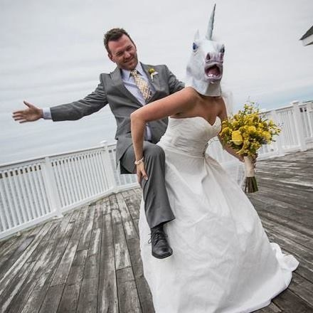 unicorn,horse head mask,awesome,wedding photos