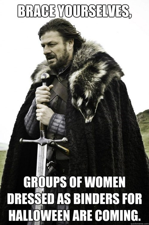brace yourselves,women in binders,halloween costumes
