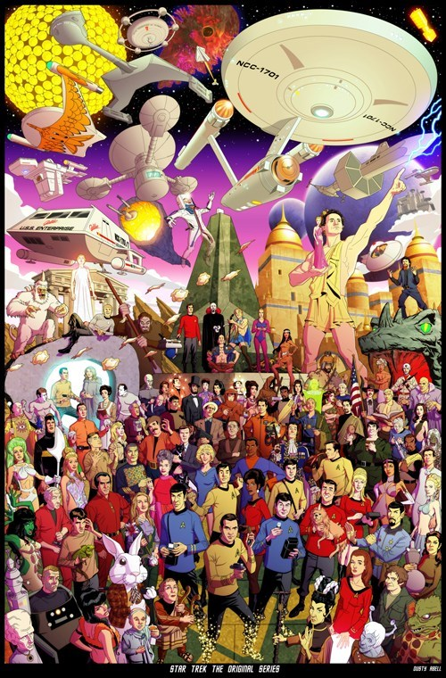 Star Trek the original series enterprise detailed poster Fan Art Captain Kirk McCoy Spock sulu chekov uhura scotty characters - 6696093696