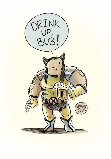 drink up bub,wolverine,x men,deviant art