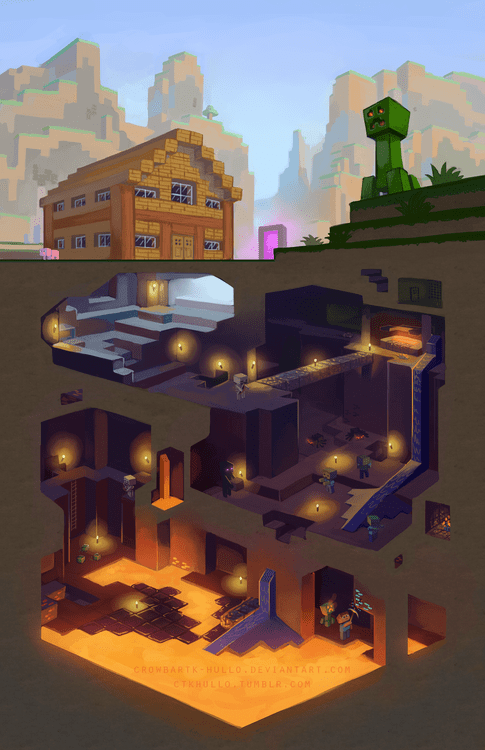 minecraft underground awesome mining art - 6696193280