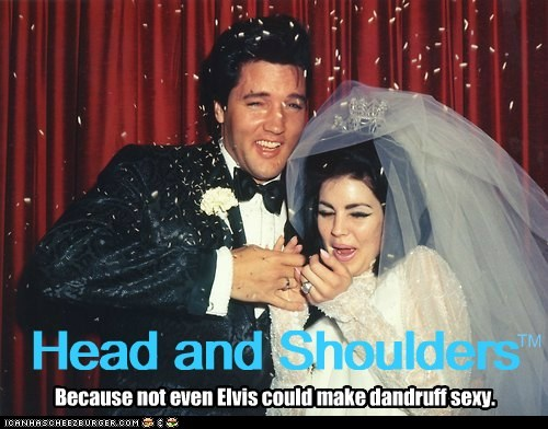 Elvis,priscilla,wedding,confetti,dandruff,head and shoulders