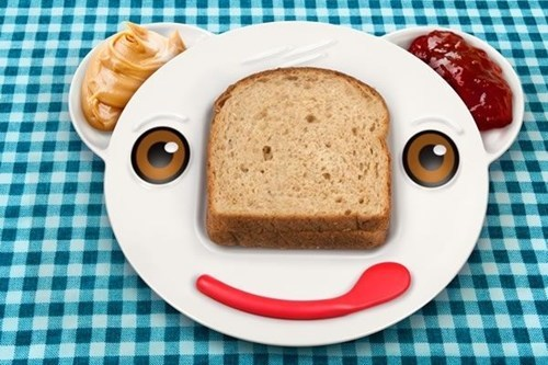 plate face sandwich peanut butter jelly bread learning kids - 6696504320