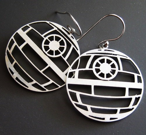 star wars earrings Movie Death Star laser cut steel - 6696578560
