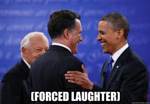 Mitt Romney barack obama debate forced laughter vote pretending - 6696946176