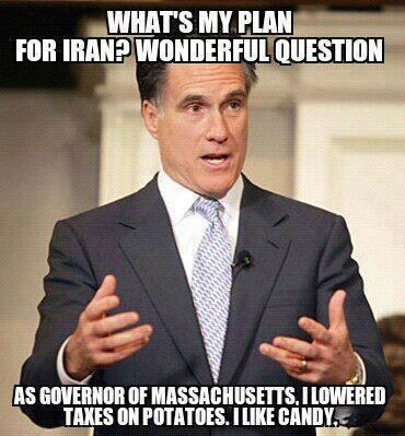 Mitt Romney plan question massachusetts potatoes candy random debate
