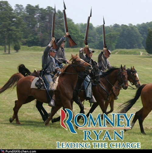 Mitt Romney,paul ryan,charge,horses,bayonets,debate