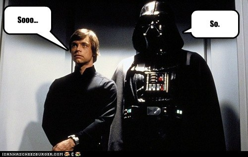so,elevator,star wars,Awkward,luke skywalker,darth vader,Mark Hamill