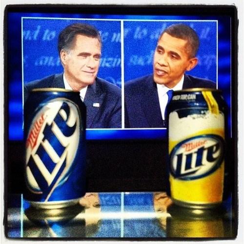 debate beer miller lite barack obama Mitt Romney - 6697104384