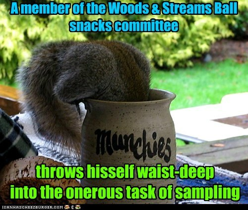 A member of the Woods & Streams Ball snacks committee throws hisself waist-deep into the onerous task of sampling