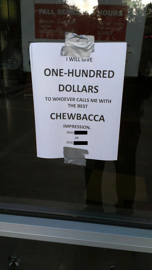 challenge,chewbacca,sign,star wars,nerdgasm,prank