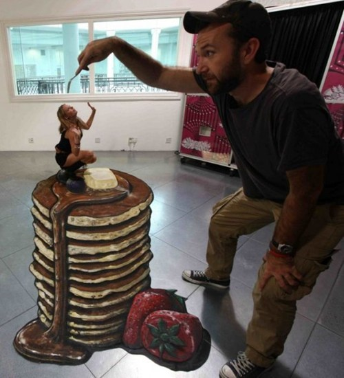 perspective,pancakes,illusion,chalk art,food