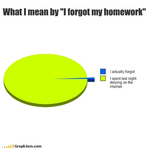 homework,internet,forgetful,derping around,Pie Chart