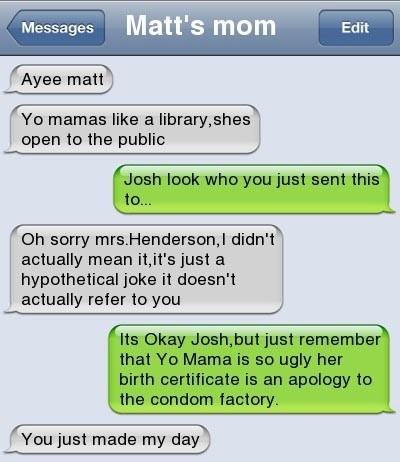 yo mama jokes,text message