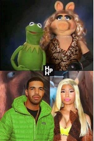 kermit the frog,miss piggy,the muppets,nicki minaj,Drake