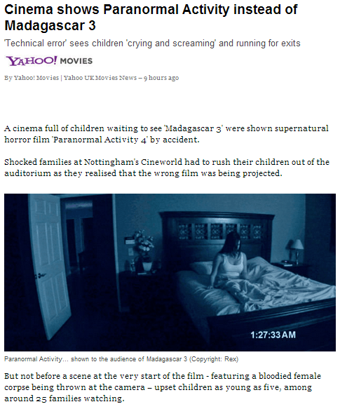 paranormal activity 4 Madagascar 3 nottingham cineworld movies wrong movie yahoo yahoo movies Hall of Fame best of week - 6699169792