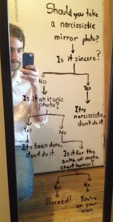 mirror photos,flow chart,self poortraits,ironic