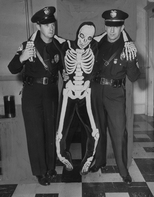 skeleton costume,old timey,police