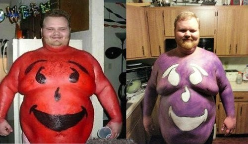 kool-aid man,body paint,obese