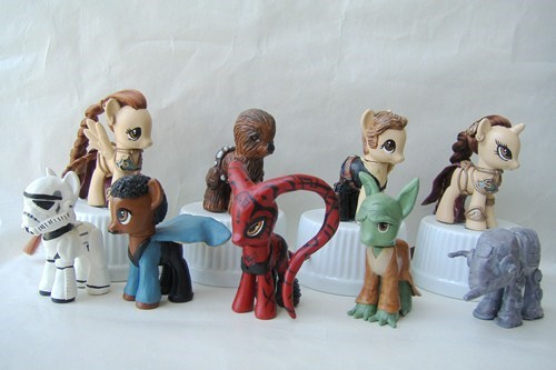 star wars my little pony darth maul Lando Calrissian yoda Han Solo stormtrooper at at Princess Leia chewbacca