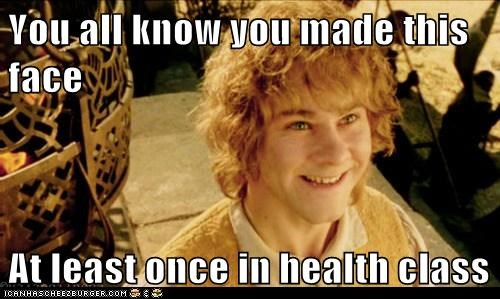 Merry brandybuck,dominic monaghan,giggling,immature,health class,smile