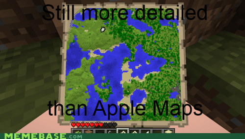 apple maps,minecraft,meme