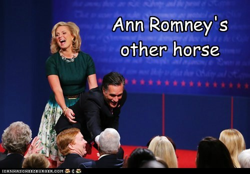 Ann Romney Mitt Romney Awkward position other riding horse