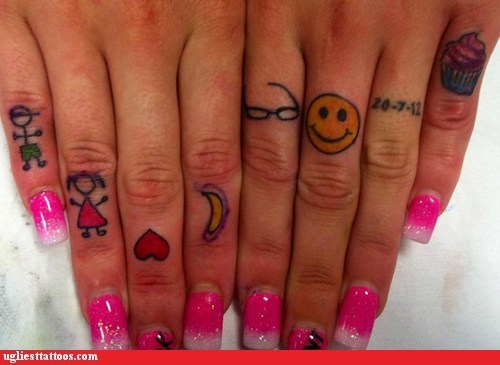 smiley face,heart,cupcake,finger tattoos