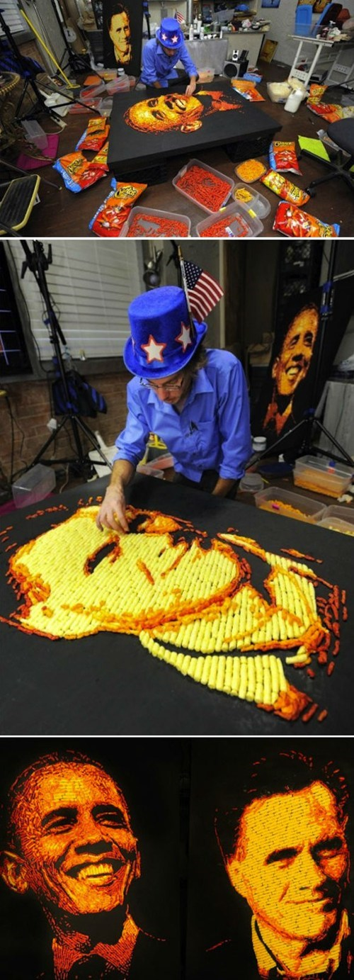 because cheetos cheetos portraits jason baalman Romney obama election 2012 - 6701723136