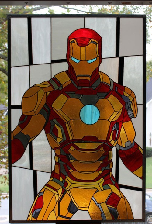 iron man tony stark stained glass - 6701827072
