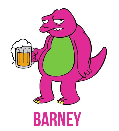 barney,the simpsons