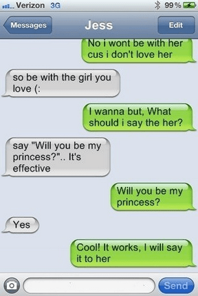 Awkward,texting,princess,just trying it out
